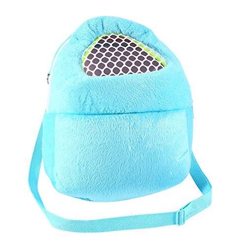 Pet Carrier Bag Pet Pocket,21x25cm Hamster Carrier Breathable Pocket Hamster Ferret Travel Sleeping Hanging Bed Bag (Blue)