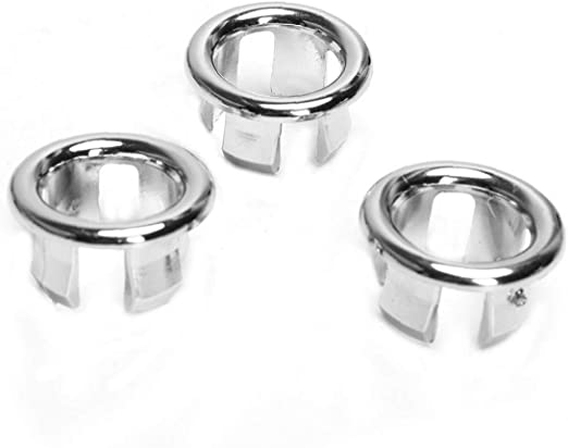 Sink Overflow Covers Basin Chromed Strainer Ring Bathroom Inserts Replacement