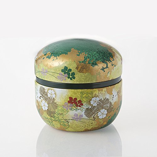 (TOKYO MATCHA SELECTION - [VALUE] Hanazoroe : Steel Tea Caddy Can (S) for 100g leaf - Japanese Traditional Design [Standard shipping by SAL: NO tracking number])