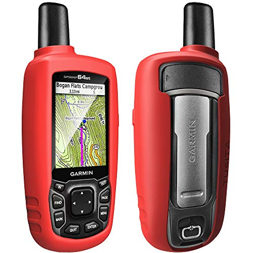 TUSITA Case for Garmin GPSMAP 62 62s 62st 62sc 62stc 64 64s 64st 64sc - Silicone Protective Cover Skin - Outdoor Handheld GPS Navigator Accessories (Red) ()