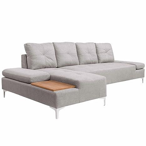 vidaXL sofá en l con Bandeja de Madera Tejido Sofa de Salon ...