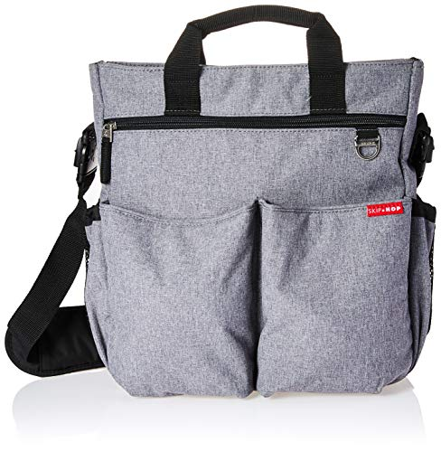 Skip Hop Messenger Diaper Bag with Matching Changing Pad, Duo Signature, Heather Grey