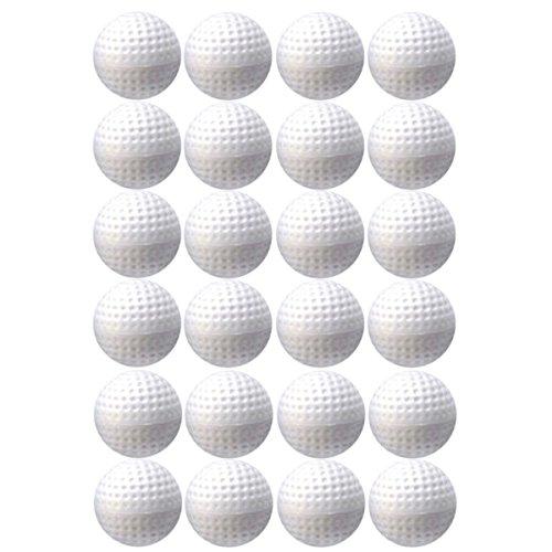 TOYMYTOY 24pcs Plastic Golf Balls Game Toy Balls Indoor Outdoor Practice Balls for Kids Children Golfer (White) (Plastic Golf Balls)