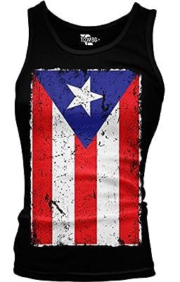 Big Distressed Puerto Rico Flag Girls / Juniors Tank Top T-shirt