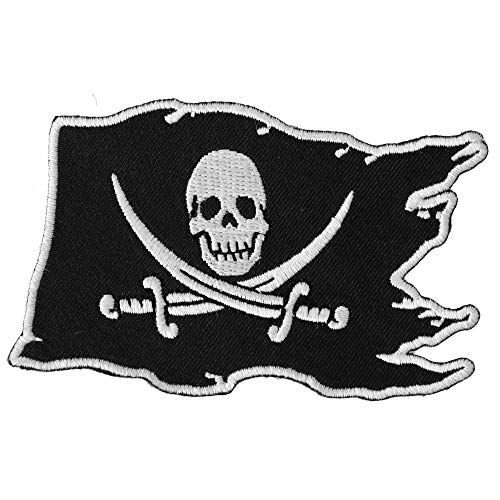 (Pirate Skull Patch - 3.5x2.5 inch. Embroidered Iron on Patch)