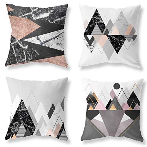 Modern Simple Geometric Style Rose Gold and Gray-White Marble Pack of 4 Throw Pillows Cases 18x18 Inches, Throw Pillows for Couch Outdoor Bench Decorative Pillows, Flannel is Soft and Comfortabe