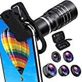 HD Cell Phone Camera Lens Kit 6 in 1,18X Telephoto Lens, Wide Angle Lens, Macro Lens, Fisheye Lens, 2X Telephoto Lens, CPL in Travel Case, Compatible with iPhone Max X XS 8 7 6 Plus, Samsung & More