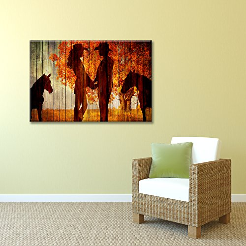 Country Scene with the Silhoutte of Horses and A Couple Holding Hands