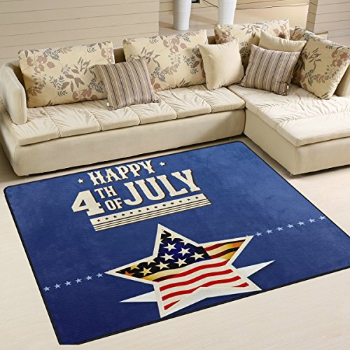 Happy 4Th Of July Patriotic Independence Day Playmat Floor Mat For Dining Room Living Room Bedroom, 7'x5' and - Sunglasses Studs Versace With