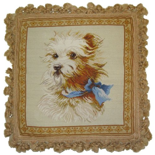 Deluxe Pillows Blue Bow Dog - 18 x 18 in. needlepoint pillow