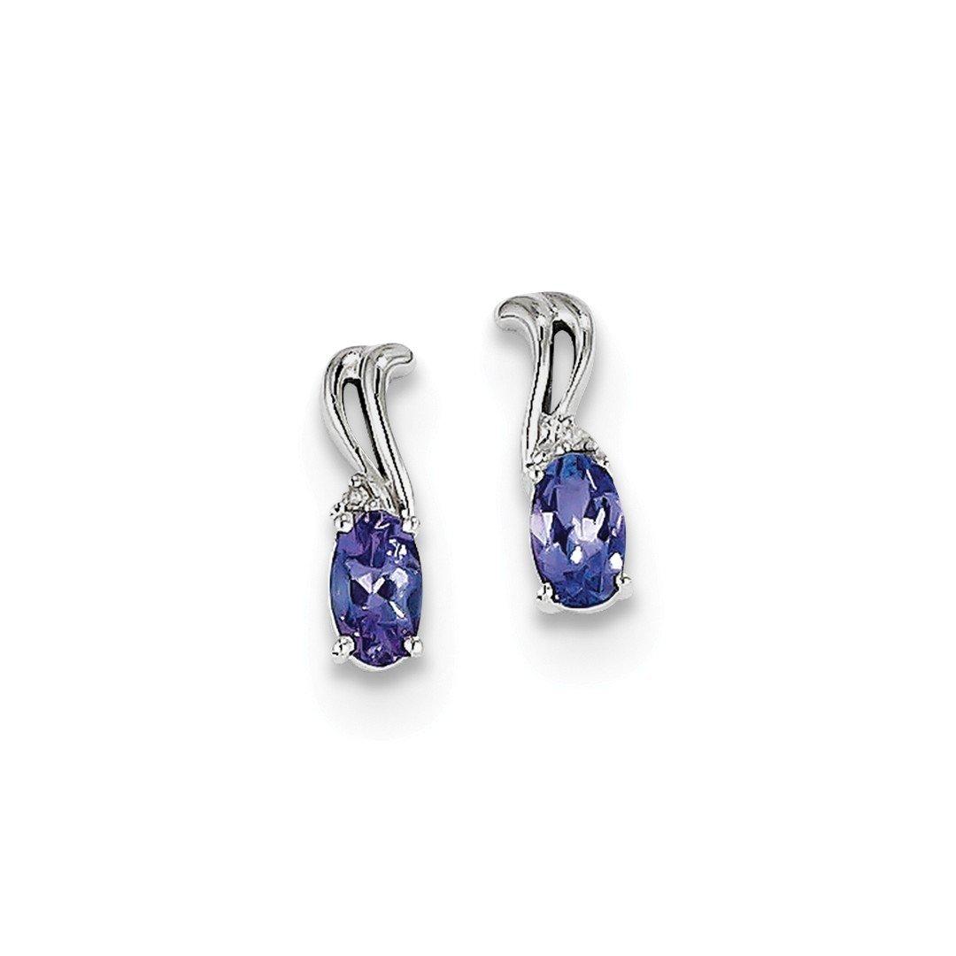 ICE CARATS 925 Sterling Silver Diamond Blue Tanzanite Oval Post Stud Earrings Drop Dangle Fine Jewelry Gift Set For Women Heart