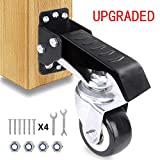 SOLEJAZZ Workbench Caster kit 4 Heavy Duty Retractable Workbench Caster Wheel All Steel Construction Urethane Wheels, Bonus Install Template[New Version]