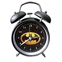 Wolf Warrior Novelty Superhero Analog Alarm Clock Silent Sweep Night Backlight Home Decoration Round Desk Metal Alarm Clock for Kids Children Gift