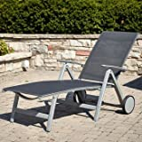 Briza Folding Chaise Lounge - POWDER COATED FRAMES for Extra Durability with 6 Position ADJUSTABLE BACKREST - Aluminium Frames WILL NOT RUST with EASY GLIDE WHEELS