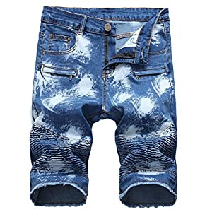 Lavnis Men's Casual Denim Shorts Classic Fit Ripped Jeans Biker Shorts