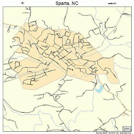 Amazon Com Large Street Road Map Of Sparta North Carolina Nc