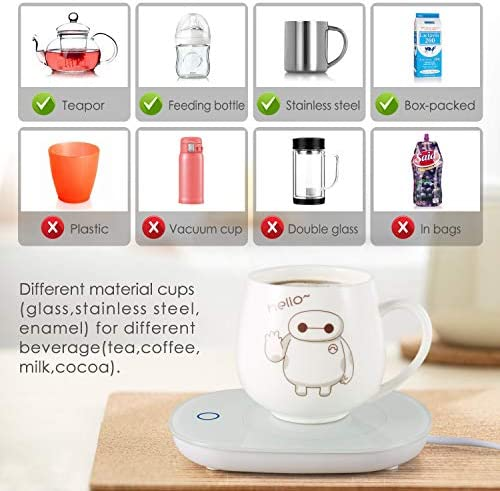 Coffee Mug Warmer, Coffee Warmer with Automatic Shut Off Beverage Warmers Cup Heater for Desk Coffee Warmer Keep Temperature Up to 131℉/ 55℃, Safely Use for Office/Home to Warm Coffee Tea Milk Candle 51J1Q93eoiL