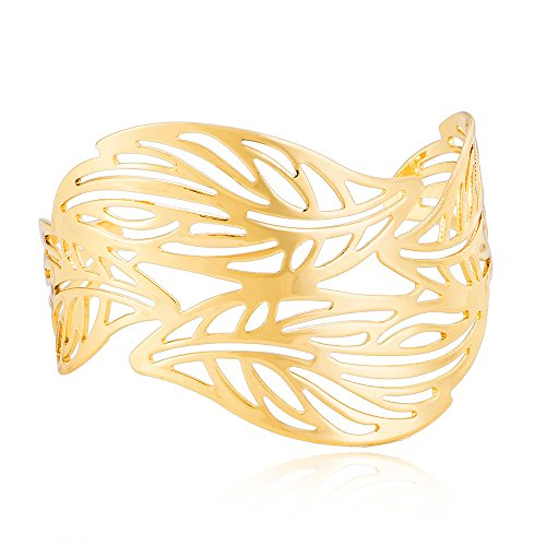 Bracelet Cuff Leaf (4 Pcs Leaves Bracelet and Bangle for Women Summer Holiday Jewelry (Gold))