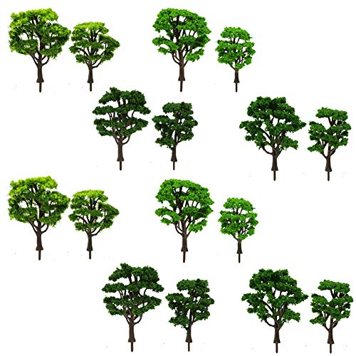 Evemodel S0601 16pcs Model Road Trees Train Railways Architecture Landscape Scenery O Scale 1:50 Green,Dark Green,Light Green (Scale O Trees)