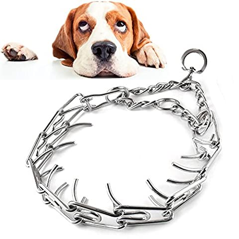TUM Stainless Steel Dog Training Choke Chain Collar Adjustable Prong Pinch Collar - Choke Horn
