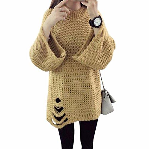 QIYUN.Z Las Muchachas De Las Mujeres Ahuecaron Las Sudaderas Holgadas Del Suéter Del Invierno Del Otoño Del Suéter Amarillo