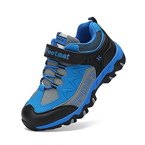 Feetmat Boys Shoes Outdoor Waterproof Hiking Shoes Kids Sneakers Blue Size 13 M Little Kid