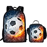Nopersonality Soccer Print Children's Backpack School Bookbag & Lunch Bag Food Box for Teens Boys