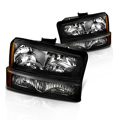 Instyleparts Chevy Silverado Avalanche Clear Lens Headlights Bumper Lights Set with Black Housing (06 Avalanche Headlights compare prices)