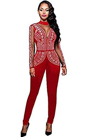 137d2e4e602 Dreamworld New Plus Size Red Studded Jumpsuit Catsuit Club Wear Party  Evening Wear Size UK 14-16  Amazon.co.uk  Clothing