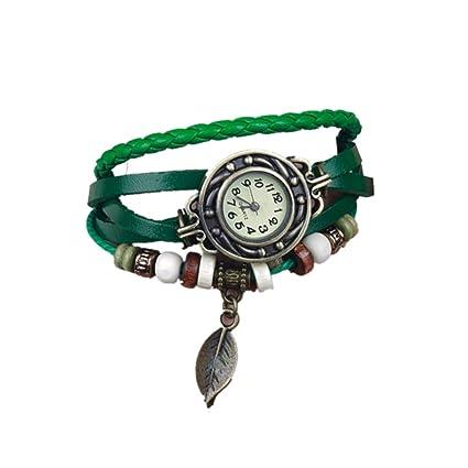cosanter Vintage Mujer Piel Reloj de pulsera retro reloj de pulsera brazalete reloj reloj de cuarzo