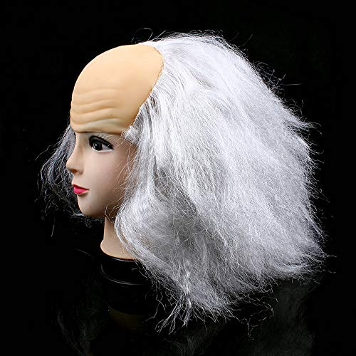 Halloween Masquerade Characters Dress Up Cosplay Grandfather Grandmother Bald Wig -