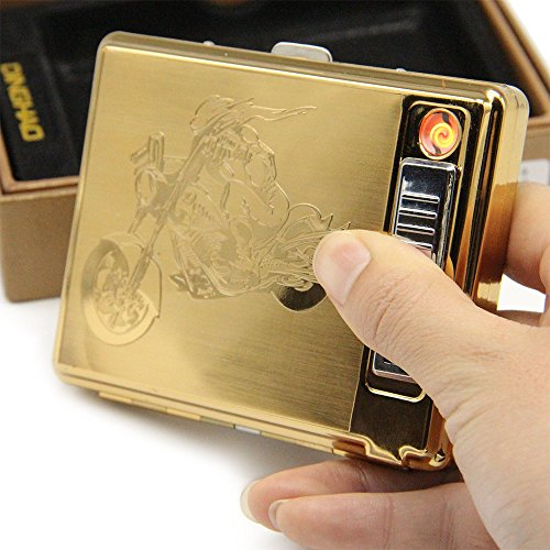 Gold Metal Cigarette Case with Electronic Lighter USB Rechargeable Hold 20 pieces Cigarettes