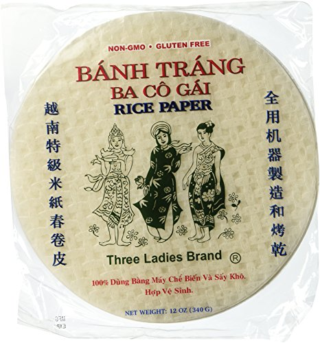 - 5 Packs Three Ladies Spring Roll Rice Paper ( Round 22 Cm )