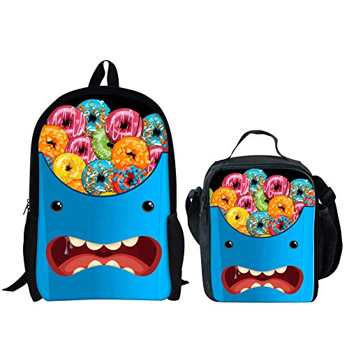 HUGS IDEA Donuts Printing Backpack Set for Teenagers Boy Schoolbag with Insulted Thermo Lunch Box