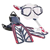 Oceanic V16 OH Fins, Ion Mask, Dry Snorkel USA Package (Regular, USA (Red/White/Blue))