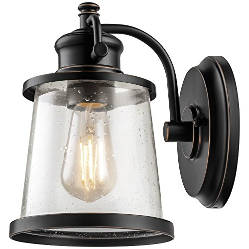Globe Electric Charlie LED Outdoor Wall Sconce, Oil Rubbed Bronze Finish, Clear Seeded Glass Shade, LED Bulb Included, 44127