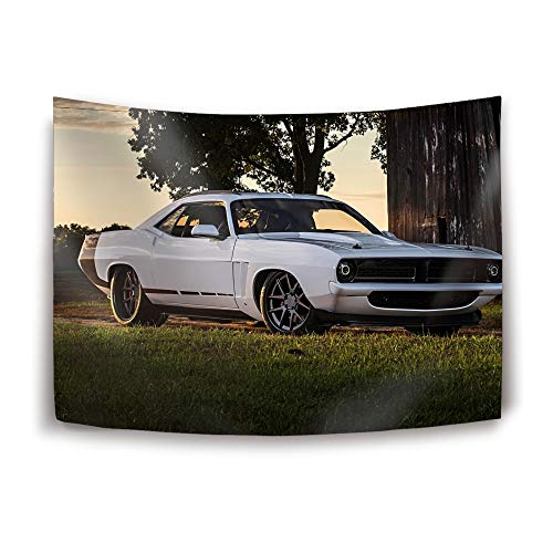 Christopher Macadam Tapestry Wall Hanging Abstract Plymouth Barracuda Hot Rod Muscle Car Mopar Tapestry Vintage Tapestry Wall Tapestry Micro Fiber Peach Home Decor - Hanging Plymouth Lantern