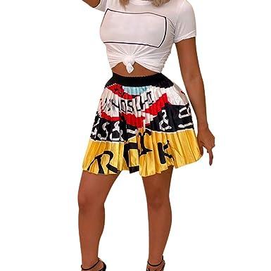 Hokoaidel Moda Casual para Mujer Acampanada Falda Plisada de ...