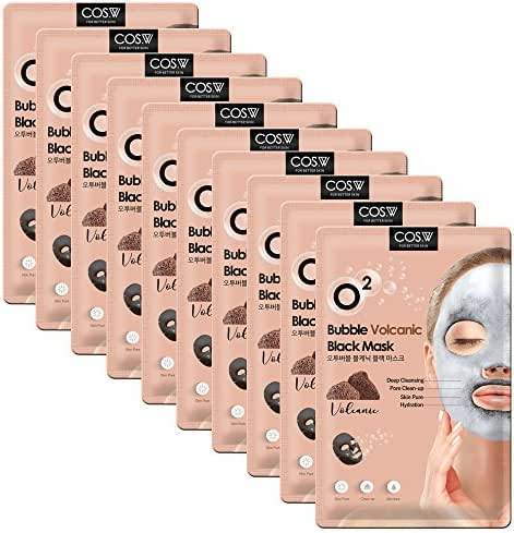 COS.W Volcanic O2 Bubble Face Mask(10 Sheets) Moisturizes, Tones and Purifies