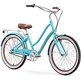 "sixthreezero EVRYjourney Women's 3-Speed Step-Through Hybrid Cruiser Bicycle, Teal w/Brown Seat/Grips, 26"" Wheels/ 17.5"" Frame"