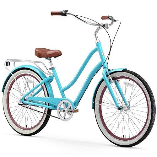Hybrid Storage Step - sixthreezero EVRYjourney Women's 3-Speed Step-Through Hybrid Cruiser Bicycle, Teal w/Brown Seat/Grips, 26