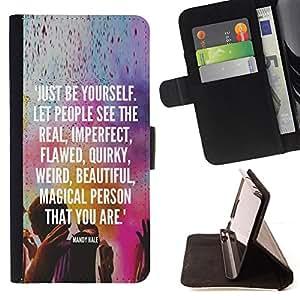BullDog Case - FOR/Samsung Galaxy Core Prime / - / be yourself kuli holiday Indian text white /- Monedero de cuero de la PU Llevar cubierta de la caja con el ID Credit Card Slots Flip funda de cuer