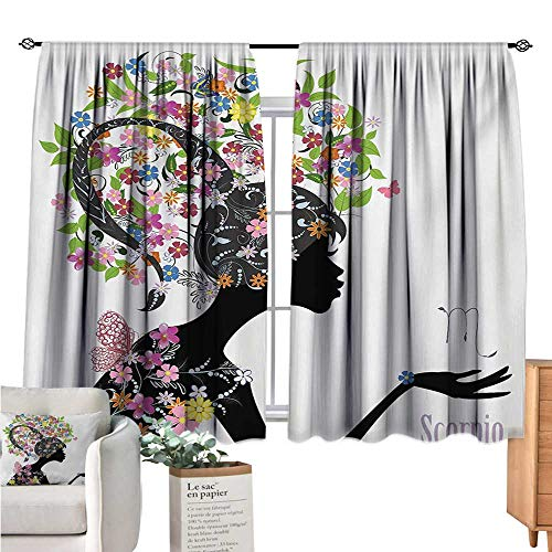 Warm Family Zodiac Scorpio Small Window Curtain Fashion Girl Silhouette with Colorful Blossoming Floral Dress and Hairstyle Multicolor Curtain Panels W63 x ()