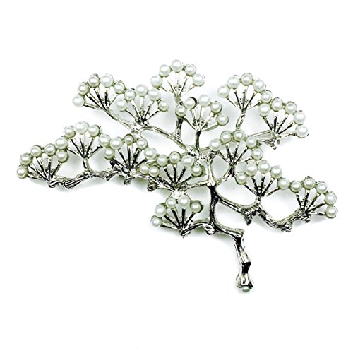 Les Bohémiens Japanese Pink Cherry Blossom Sakura Tree Imitation Pearl Brooch Pin in Chrome for Women Box, Card, Envelope Included for Easy Gifting (Silver)
