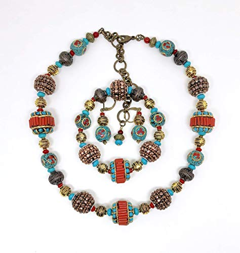 Turquoise and coral Tibetan beads handmade jewelry set.