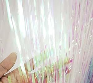 GOER 3.2 ft x 9.8 ft Metallic Tinsel Foil Fringe Curtains for Party Photo Backdrop Wedding Decor (Iridescent,5 pcs)