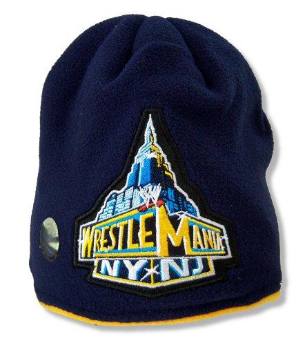 Adult WWE Wrestling Wrestlemania Navy Blue Fleece Beanie Hat -