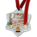 Add Your Own Custom Name, Painted Wood What Happens at Bingo Christmas Ornament NEONBLOND