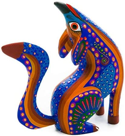 Alebrije Howling Coyote Oaxacan Wood Carving Mexican Handcrafted Sculpture Blue