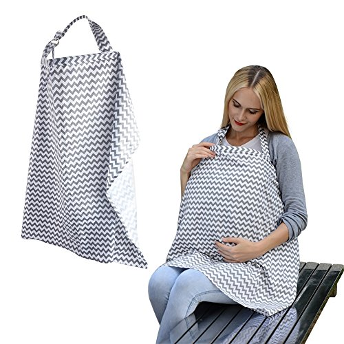 Accmor Unisex Baby Breastfeeding Cover, Multi-use Wide Nursing Cover with Storage Pockets, Organic Cotton Breathable Nursing Cover for Infant,for mother's day from accmor